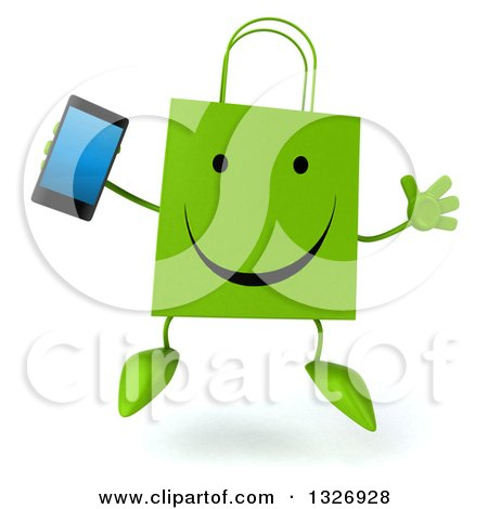 Clipart of a 3d Happy Green Shopping or Gift Bag Character Jumping and Holding a Smart Phone - Royalty Free Illustration by Julos