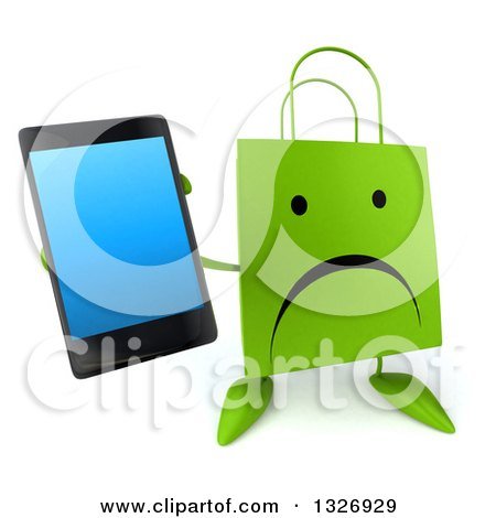Clipart of a 3d Unhappy Green Shopping or Gift Bag Character Holding up a Smart Phone - Royalty Free Illustration by Julos
