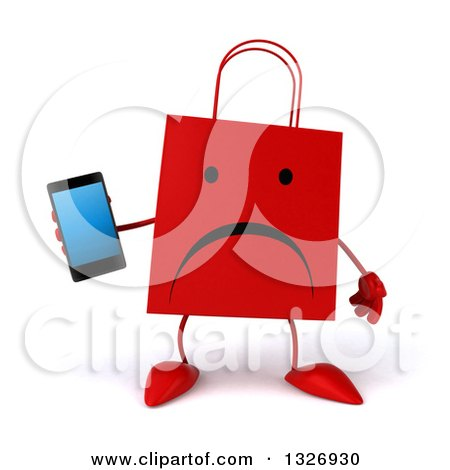 Clipart of a 3d Unhappy Red Shopping or Gift Bag Character Holding a Smart Cell Phone - Royalty Free Illustration by Julos