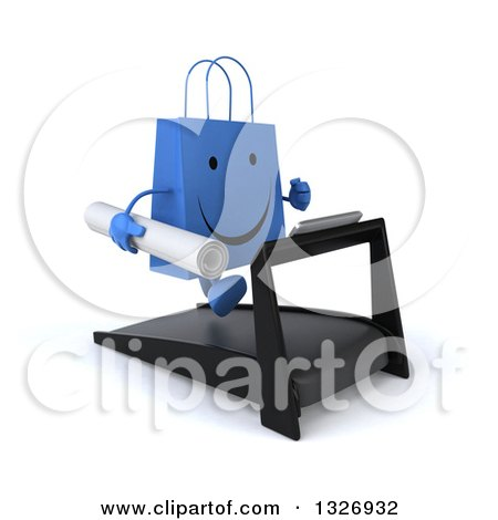 Clipart of a 3d Happy Blue Shopping or Gift Bag Character Holding Plans, Facing Slightly Right and Running on a Treadmill - Royalty Free Illustration by Julos