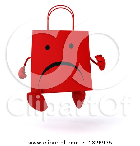 Clipart of a 3d Unhappy Red Shopping or Gift Bag Character Running - Royalty Free Illustration by Julos