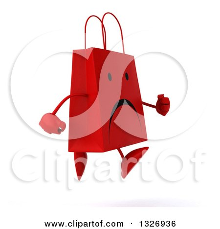 Clipart of a 3d Unhappy Red Shopping or Gift Bag Character Running to the Right - Royalty Free Illustration by Julos