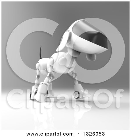 Clipart of a 3d Robot Dog Walking on Gray - Royalty Free Illustration by Julos