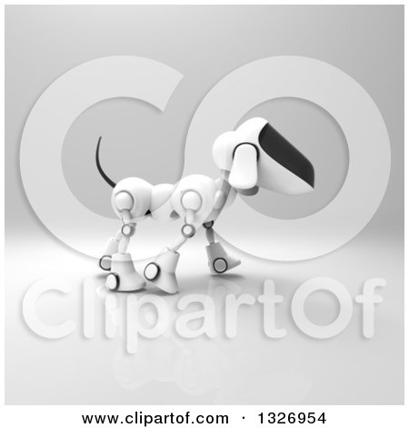 Clipart of a 3d Robot Dog Walking on Gray 2 - Royalty Free Illustration by Julos