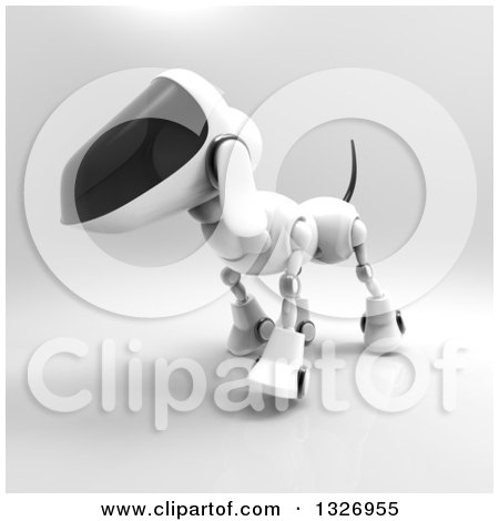 Clipart of a 3d Robot Dog Walking on Gray 3 - Royalty Free Illustration by Julos