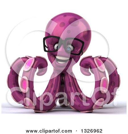 Clipart of a 3d Bespectacled Purple Octopus - Royalty Free Illustration by Julos