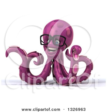Clipart of a 3d Bespectacled Purple Octopus Presenting to the Left - Royalty Free Illustration by Julos