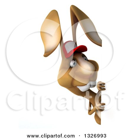 Clipart of a 3d Brown Bunny Rabbit Wearing a Baseball Cap and Looking Around a Sign - Royalty Free Illustration by Julos