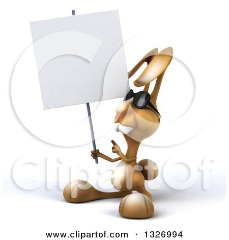 Clipart of a 3d Brown Bunny Rabbit Wearing Sunglasses, Facing Slightly Left, Holding and Pointing to a Blank Sign - Royalty Free Illustration by Julos