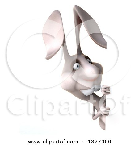 Clipart of a 3d White Bunny Rabbit Looking Around a Sign - Royalty Free Illustration by Julos
