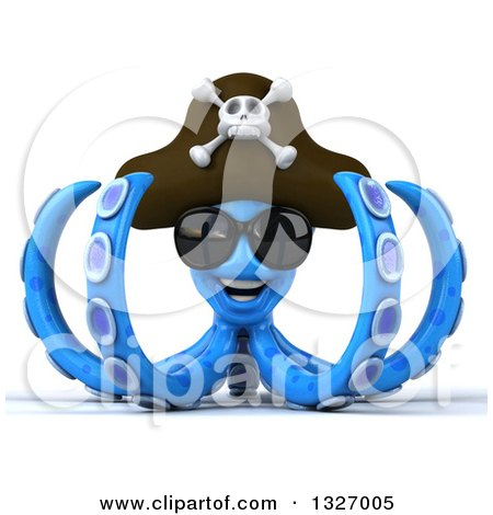 Clipart of a 3d Blue Pirate Octopus Wearing Sunglasses - Royalty Free Illustration by Julos