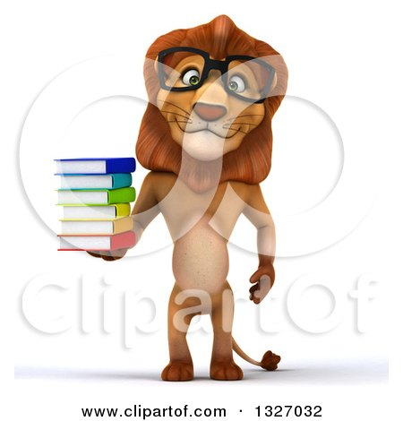 Clipart of a 3d Bespectacled Male Lion Standing and Holding a Stack of Books - Royalty Free Illustration by Julos