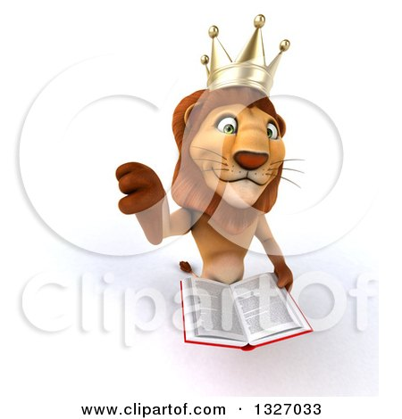 Clipart of a 3d Male Lion King Holding up a Thumb down and a Book - Royalty Free Illustration by Julos