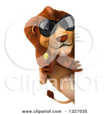 Clipart of a 3d Male Lion Wearing Sunglasses and Sipping a Beverage Around a Sign - Royalty Free Illustration by Julos