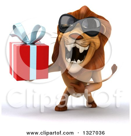 Clipart of a 3d Male Lion Wearing Sunglasses, Roaring and Holding a Gift - Royalty Free Illustration by Julos