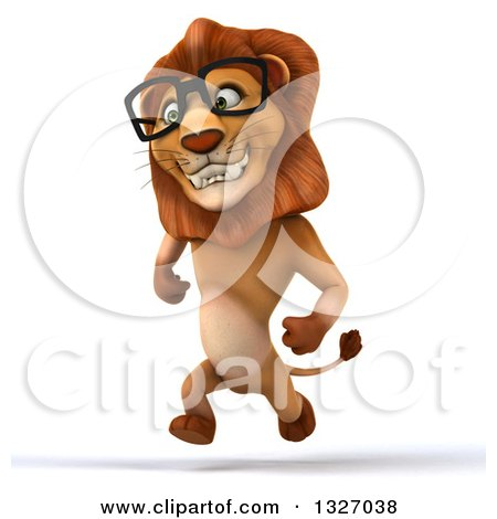 Clipart of a 3d Bespectacled Male Lion Smiling and Sprinting Slightly to the Left - Royalty Free Illustration by Julos