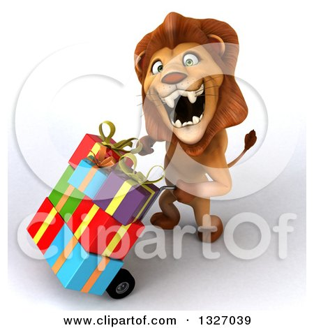 Clipart of a 3d Male Lion Looking Up, Roaring and Pushing a Dolly with Gifts to the Left - Royalty Free Illustration by Julos