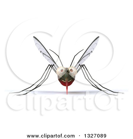 Clipart of a 3d Happy Mosquito - Royalty Free Illustration by Julos