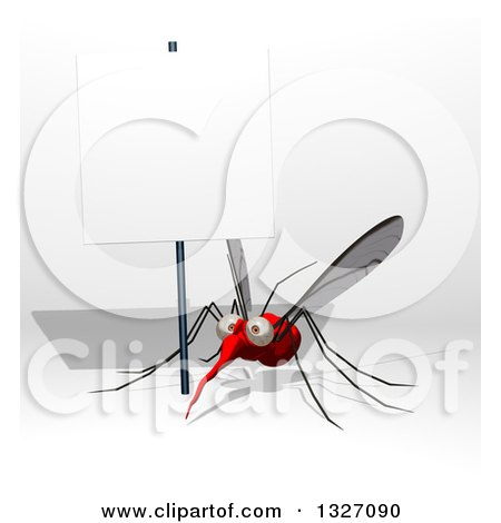 Clipart of a Cartoon Mosquito Under a Blank Sign - Royalty Free Illustration by Julos