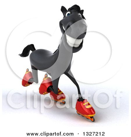 Clipart of a 3d Black Horse Roller Blading to the Right - Royalty Free Illustration by Julos