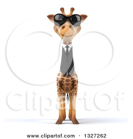 Clipart of a 3d Business Giraffe Wearing Sunglasses - Royalty Free Illustration by Julos