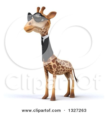 Clipart of a 3d Business Giraffe Wearing Sunglasses, Facing Slightly Left - Royalty Free Illustration by Julos