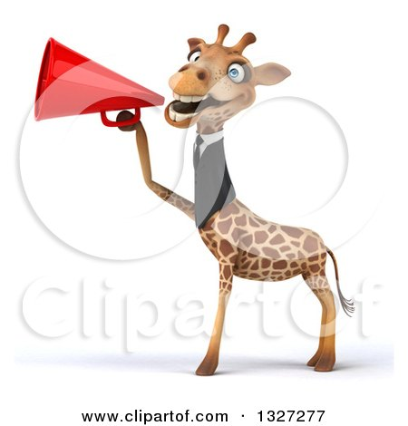 Clipart of a 3d Business Giraffe Facing Left and Announcing with a Megaphone - Royalty Free Illustration by Julos