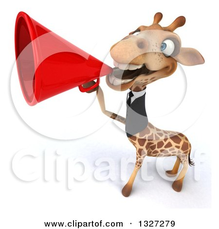 Clipart of a 3d Business Giraffe Announcing with a Megaphone 2 - Royalty Free Illustration by Julos