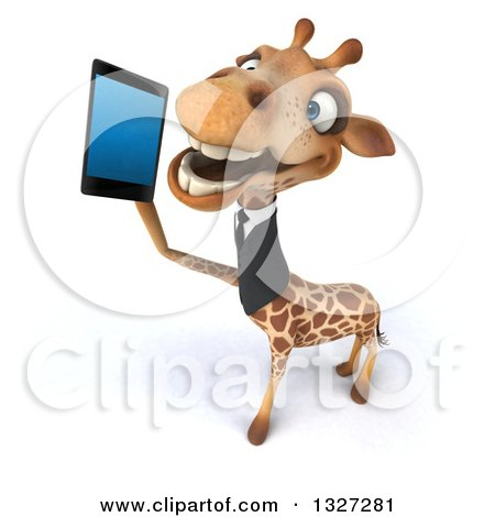 Clipart of a 3d Business Giraffe Looking up and Talking on a Smart Cell Phone - Royalty Free Illustration by Julos