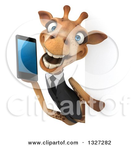 Clipart of a 3d Business Giraffe Holding a Smart Cell Phone Around a Sign - Royalty Free Illustration by Julos
