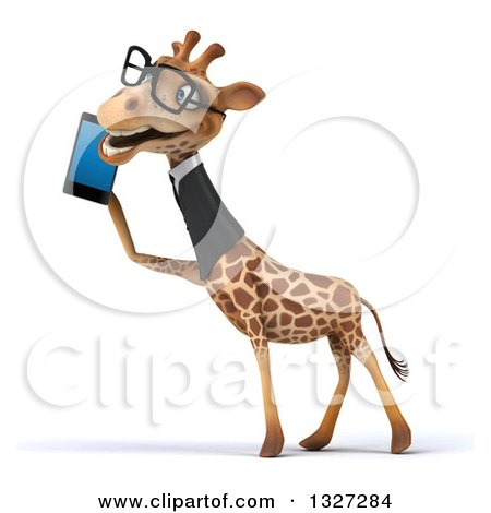Clipart of a 3d Bespectacled Business Giraffe Facing Left and Talking on a Smart Cell Phone - Royalty Free Illustration by Julos