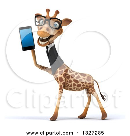 Clipart of a 3d Bespectacled Business Giraffe Facing Left and Holding a Smart Cell Phone - Royalty Free Illustration by Julos