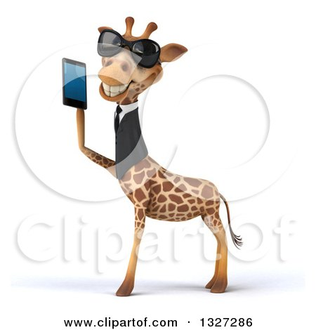 Clipart of a 3d Business Giraffe Wearing Sunglasses, Facing Left and Holding a Smart Cell Phone - Royalty Free Illustration by Julos