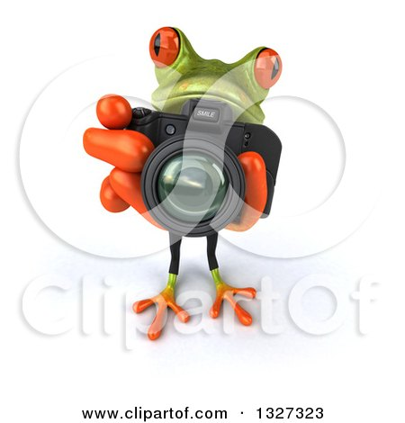 Clipart of a 3d Green Business Springer Frog Looking up and Taking Pictures - Royalty Free Illustration by Julos