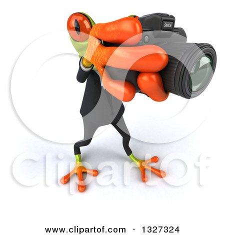 Clipart of a 3d High View of a Green Business Springer Frog Taking Pictures, Facing Slightly Right - Royalty Free Illustration by Julos