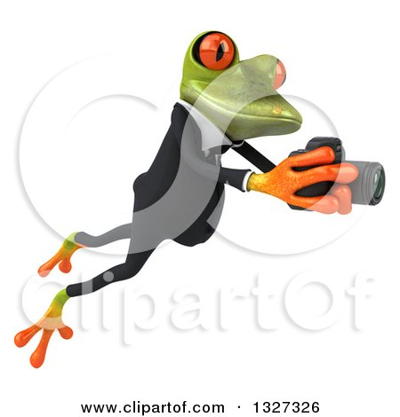Clipart of a 3d Green Business Springer Frog Leaping to the Right and Taking Pictures - Royalty Free Illustration by Julos