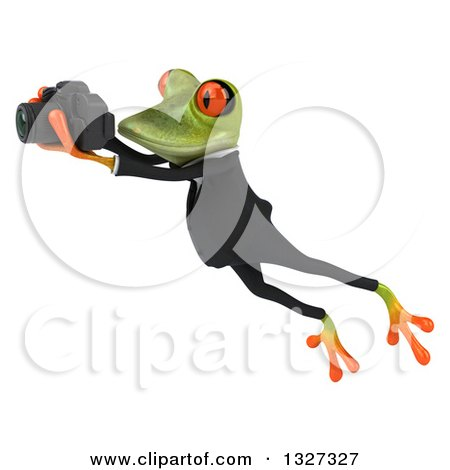Clipart of a 3d Green Business Springer Frog Leaping to the Left and Taking Pictures - Royalty Free Illustration by Julos