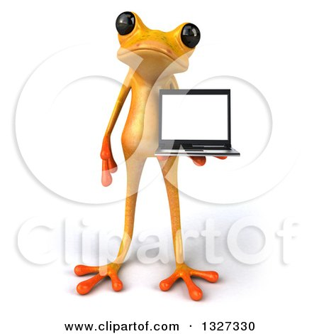 Clipart of a 3d Yellow Frog Holding a Laptop Computer - Royalty Free Illustration by Julos