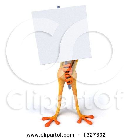 Clipart of a 3d Yellow Frog Holding a Blank Sign - Royalty Free Illustration by Julos