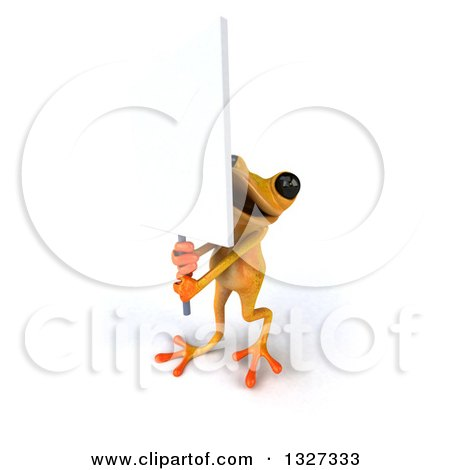 Clipart of a 3d Yellow Frog Holding up a Blank Sign - Royalty Free Illustration by Julos