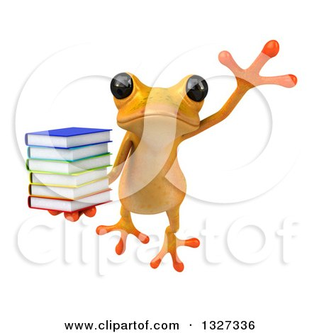 Clipart of a 3d Yellow Springer Holding a Stack of Books and Leaping - Royalty Free Illustration by Julos