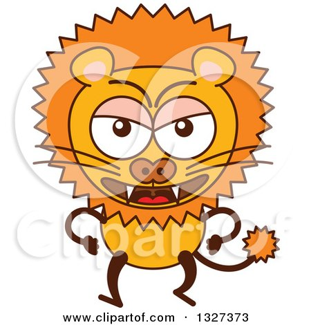 Clipart of a Cartoon Angry Male Lion - Royalty Free Vector Illustration by Zooco