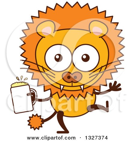 Clipart of a Cartoon Male Lion Dancing with Beer - Royalty Free Vector Illustration by Zooco