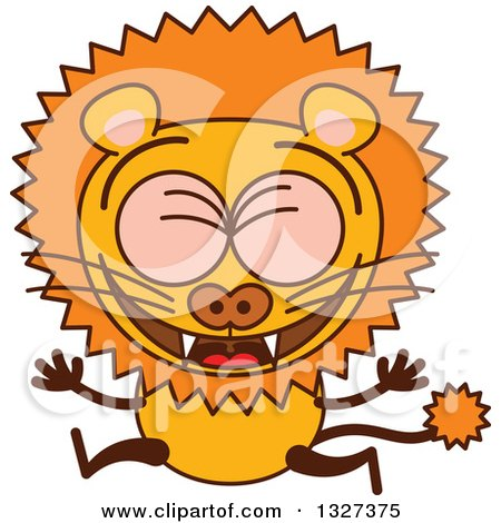 Clipart of a Cartoon Male Lion Leaping and Celebrating - Royalty Free Vector Illustration by Zooco