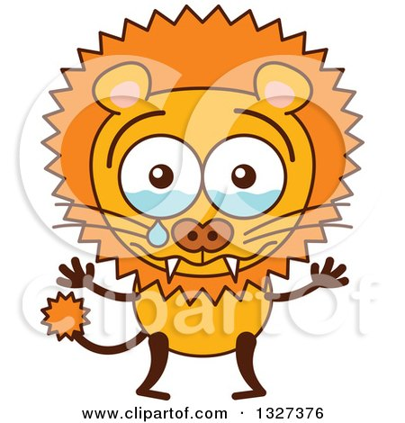 Clipart of a Cartoon Male Lion Crying - Royalty Free Vector Illustration by Zooco
