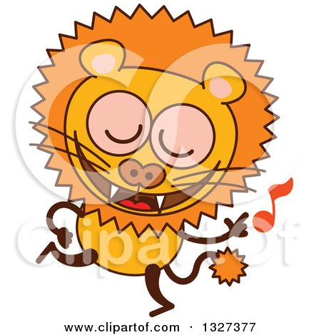 Clipart of a Cartoon Male Lion Dancing to Music - Royalty Free Vector Illustration by Zooco
