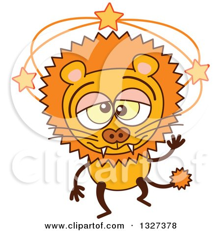 Clipart of a Cartoon Dizzy Male Lion - Royalty Free Vector Illustration by Zooco
