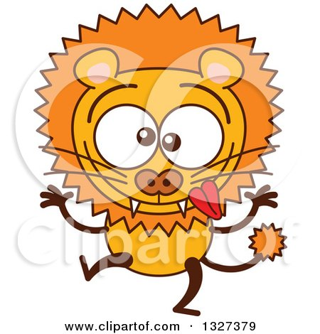 Clipart of a Cartoon Goofy Male Lion Making Funny Faces - Royalty Free Vector Illustration by Zooco