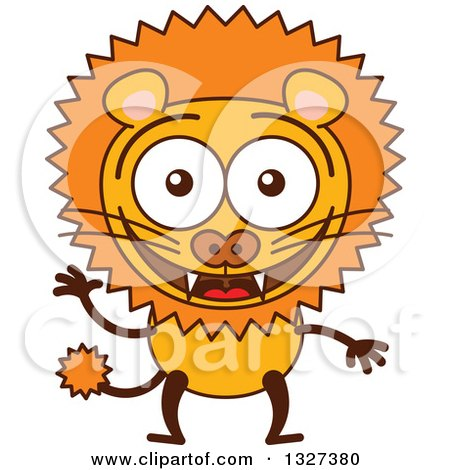 Clipart of a Cartoon Male Lion Waving - Royalty Free Vector Illustration by Zooco