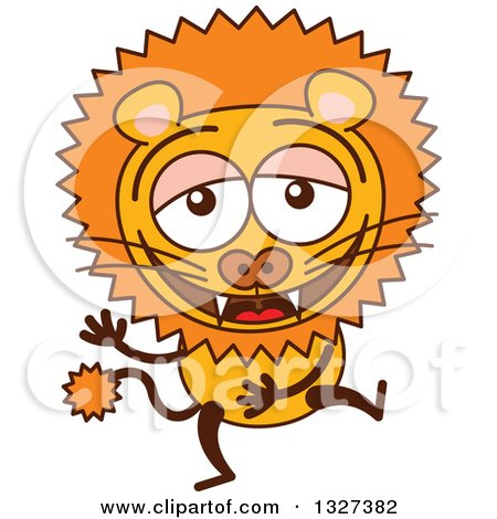 Clipart of a Cartoon Male Lion Laughing - Royalty Free Vector Illustration by Zooco